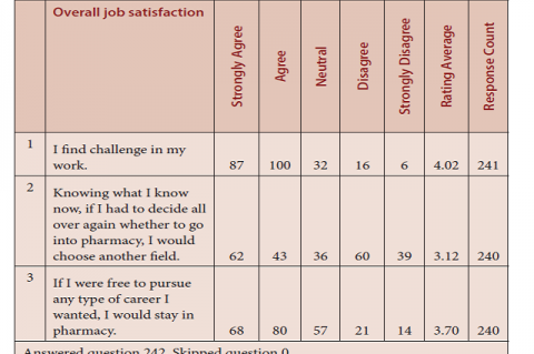The overall pharmacist job satisfaction.
